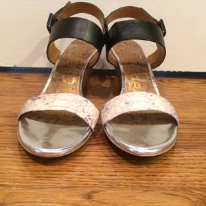 Sam Edelman Shoes - Sam Edelman snakeskin/black/silver wedges