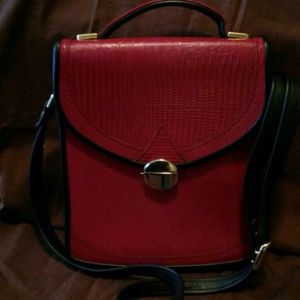 Handbags - Posh Red bag with navy faux leather trim.