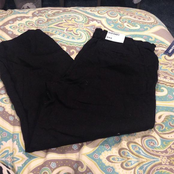 Drawstring Pants Linen Black Linen Capri Black Drawstring