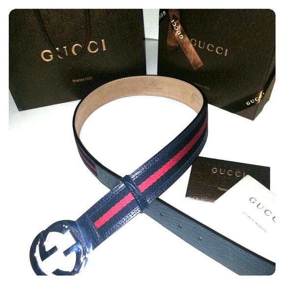 e1cc53622c982 Authentic Gucci Blue Red Stripe Belt size 30   32