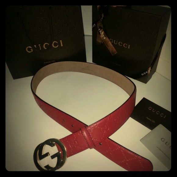 ec48f8486 Gucci Accessories | Authentic Red Leather Belt Size 28 30 | Poshmark