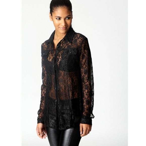 ffc4ff0f8 Forever 21 Tops | Black Sheer Lace Button Up Blouse With Collar ...