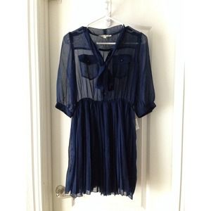 Blue Pleated Chiffon Dress