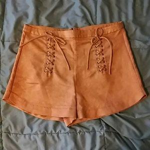 Vintage Chocolate Brown Suede High Waist Shorts