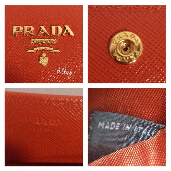 Prada - ?SOLD?PRADA BIFOLD ID WALLET - ORANGE SAFFIANO from L\u0026#39;s ...