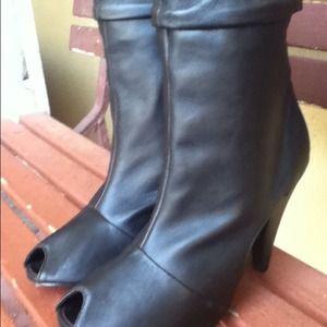 ASOS black leather ankle, peep toe boot