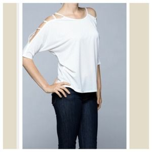 Cut shoulder chic top 2 LEFT SALE