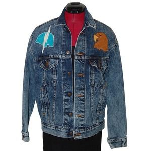 Vintage Levi's Tribal Denim Leather Symbol Jacket