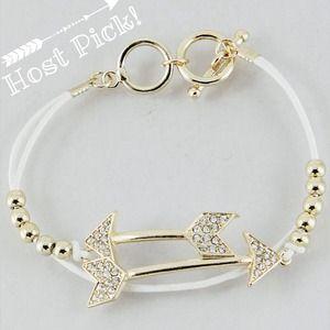 Jewelry - White arrow gold tone bracelet