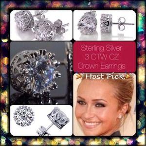 Jewelry - 3 CTW CZ Sterling Silver Crown Earrings