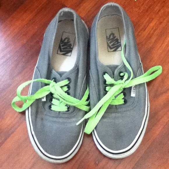 Shoes Reserved Gray Vans With Neon Green Laces Poshmark