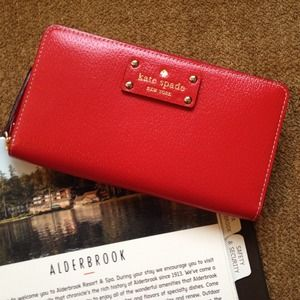 Kate Spade Wellesley Neda Wallet in Red Lacquered