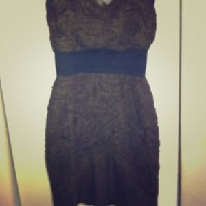 Brown rushed net dress