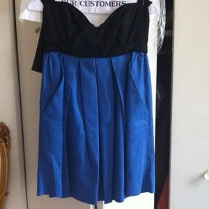 Linen blue &black dress