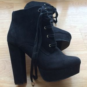 Black Heeled Lace-Up Booties