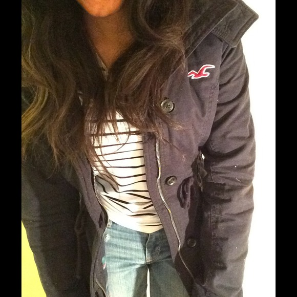 hollister navy parka