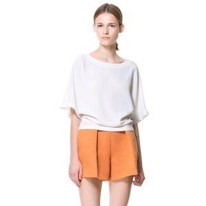 Zara burnt orange pumpkin pleat dress short L