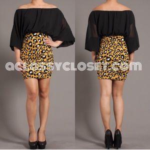  Black Drape Cheetah Skirt Dress
