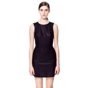 Zara black coated faux leather round neck dress M