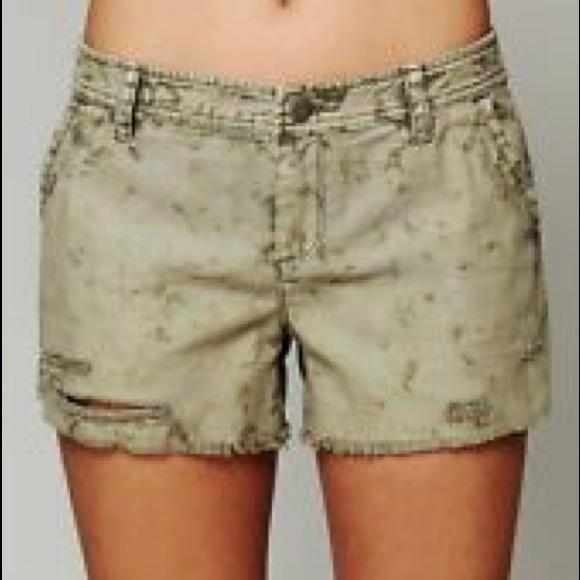 87% off Free People Pants - Free People distressed khaki shorts ...
