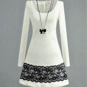 Dresses & Skirts - HP 11/3 ⭐️ White Mini-Dress with Black Lace Trim