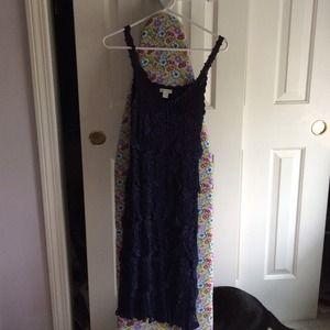 Boston Proper Navy Blue Crochet Dress