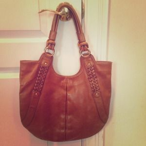 Brown leather BR shoulder bag