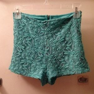 Mint lace high waisted shorts with back zipper