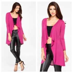 Tops - Orchid Pink Open Cardigan