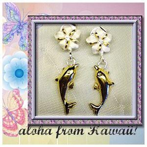 Jewelry - 🐬dolphin🐬 🌸plumeria🌸 earrings