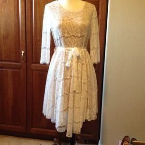 Eyelash lace ivory dress.