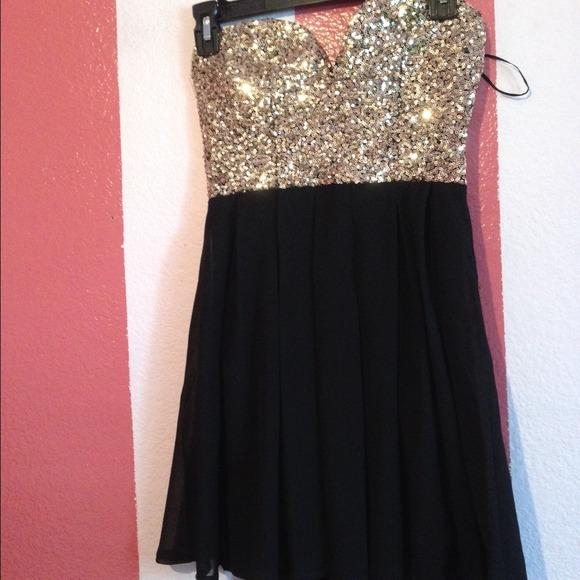 Black Sequin Top Sequin Gold Black Dress