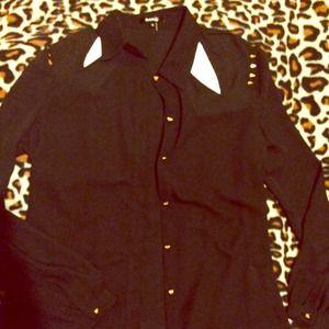 Black sheer spiked long sleeve blouse shirt