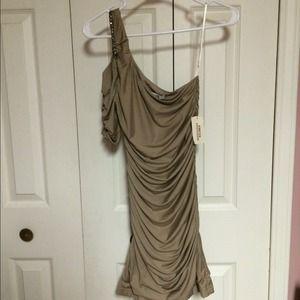 Studded off the shoulder rouche dress