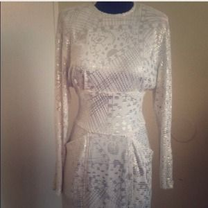 Vintage White & Silver Janine Dress, size Small