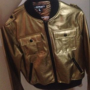 Gold Sequin Ed Hardy Jacket with Tiger interior
