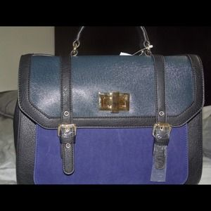 Black and blue color block hand bag