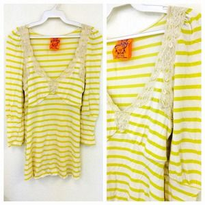 Free People Tops - Free People Yellow Stripped Top