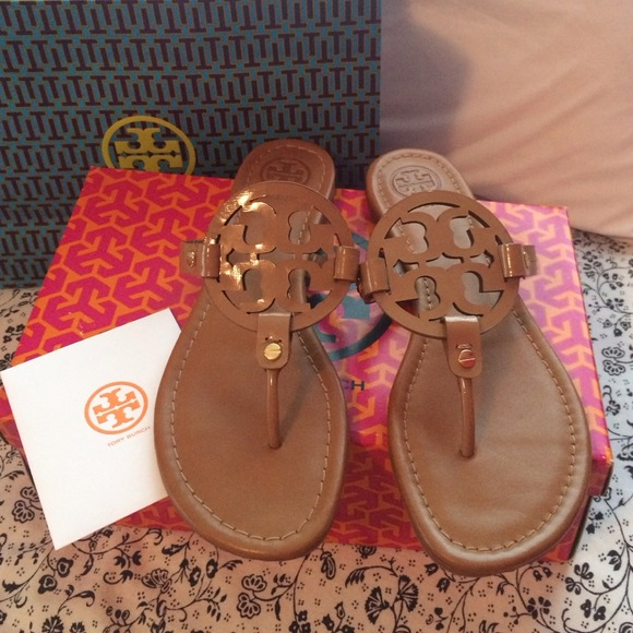 a545bac15 Tory Burch Miller Saffiano Patent Sandals