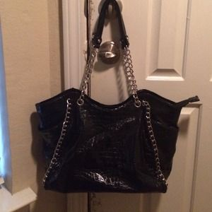 Black Faux Croc Purse