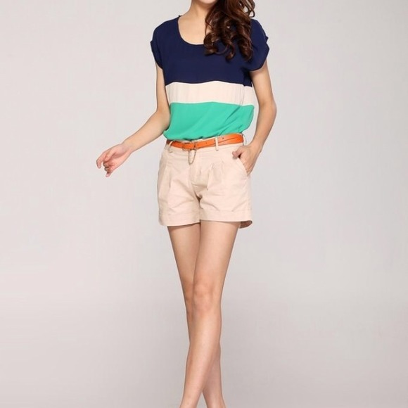 Tops - Color Block Top Green Blue beige 2