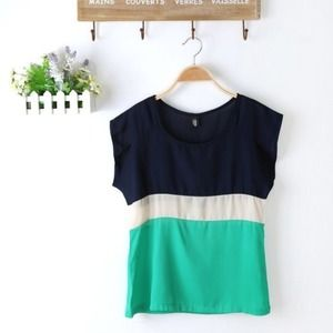 Tops - Color Block Top Green Blue beige 1