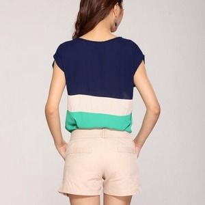 Tops - Color Block Top Green Blue beige 3
