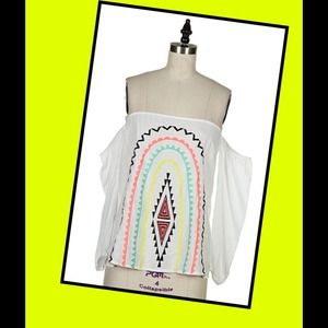 Tops - Off the shoulder aztec blouse size small