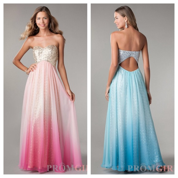 Jump Dresses | Sequin Prom Evening Ombr Gradient Goldpink Gown ...