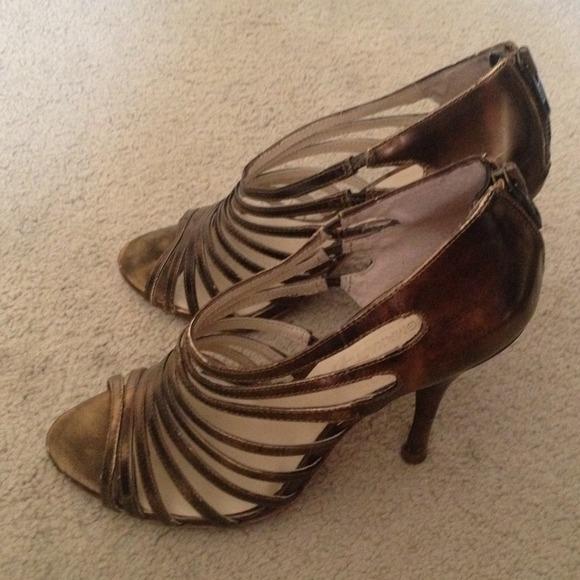 BCBG Shoes | Bcbg Bronze Colored Heels