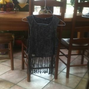 Tops - Cool grey fringe top, never worn
