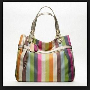 Coach Handbags - Coach poppy glam stripe tote