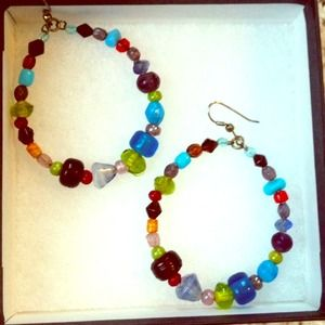 Multicolored glass hoop earrings