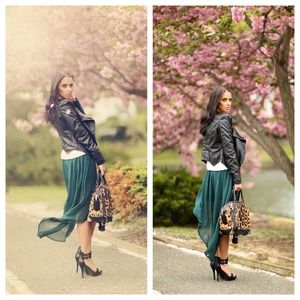 Zara green hi low skirt m